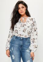 Missguided Curve White Floral Printed Tie Bodysuit, White