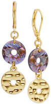 lonna & lilly Gold-Tone Openwork Stone Double Drop Earrings