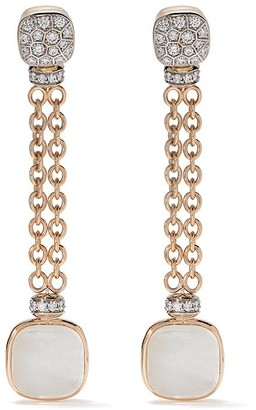 Pomellato 18kt rose and white gold Nudo mother-of-pearl, white topaz and diamond drop earrings