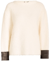 Gucci Leather Cuff Boucle Knit Sweater