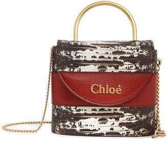 Chloé Small Leather Embossed Aby Lock Bag