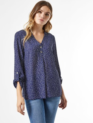 Dorothy Perkins Two Button Roll Sleeve Shirt - Navy