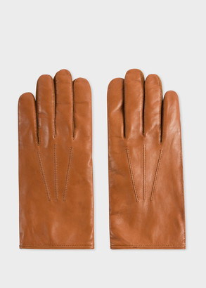 Men's Tan Plain Leather Gloves