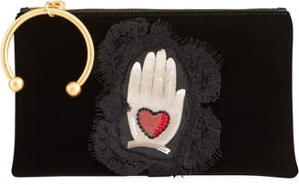 RED Valentino Graphic Hand-Printed Velvet Clutch Bag