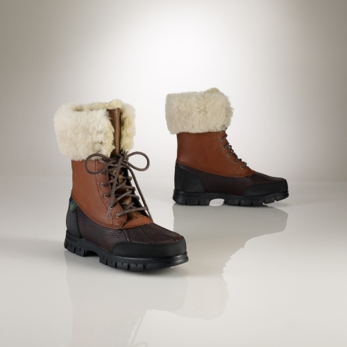 Ralph Lauren Quinta Leather-Shearling Boot