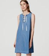LOFT Chambray Lace Up Dress
