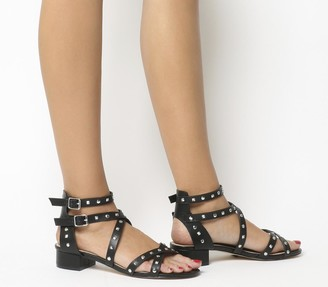Office Manhattan Strappy Block Heels Black With Silver Studs