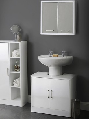 Lloyd Pascal Luna Hi-Gloss 2 Door Mirrored Bathroom Cabinet - White