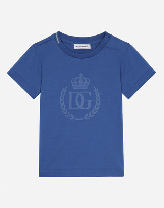 Dolce & Gabbana Jersey T-Shirt With Laurel And Crown Print