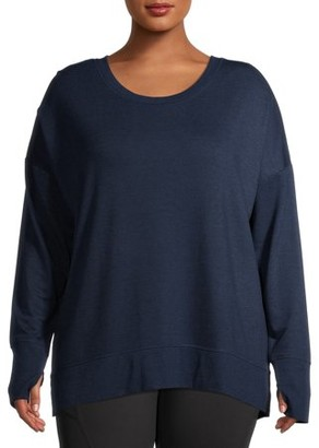 Avia Women's Plus Size Long Sleeve fleece Tee Shirt