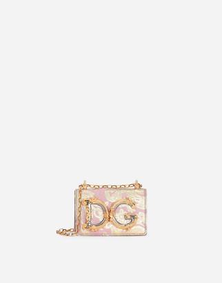 Dolce & Gabbana Girls Micro Bag In Floral Lame Brocade