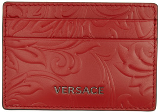 Versace Red Embossed Barocco Card Holder