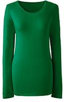 Lands' End Women's Shaped Layering Crewneck T-shirt-Ivory/Black Windowpane