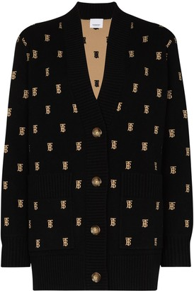 Burberry Monogram Intarsia-Knit Cardigan