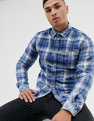 Jack and Jones Originals checked long sleeve shirt in navy