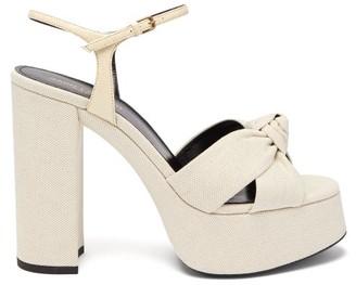 Saint Laurent Bianca Knotted Linen Platform Sandals - Cream