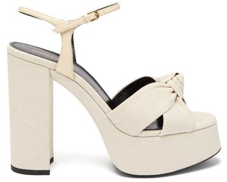 Saint Laurent Bianca Knotted Linen Platform Sandals - Womens - Cream