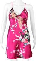 Evolatree Peacock & Blossom - Silky Satin Chemise Lingerie, Babydoll Nightgown, V-Neck - S