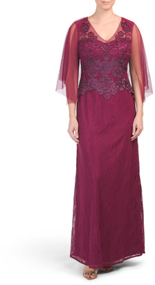 Gown With Cape Overlay