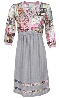 Cream ZAIROCE women's Dress in Grey