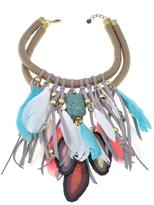 """Rara Avis by Iris Apfel Faux Feather and Resin Slice 18-1/2"""" Necklace"""