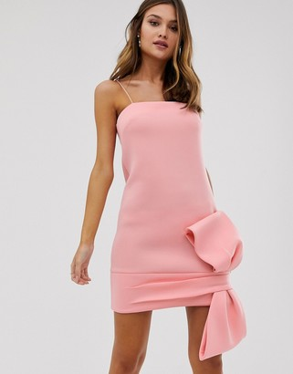 Asos Design DESIGN bow detail shift mini dress-Pink