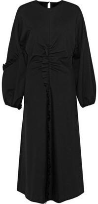 Tibi Ruffle-trimmed Ruched Ponte Midi Dress