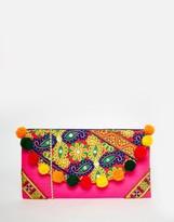Moyna Foldover Clutch Bag With Embroidery And Pom Pom Trim