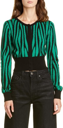 Victor Glemaud Tiger Stripe Crop Wool Cardigan