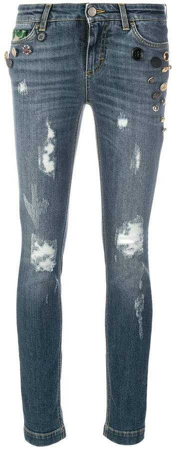 Dolce & Gabbana button embellished and brocade appliqué distressed jeans