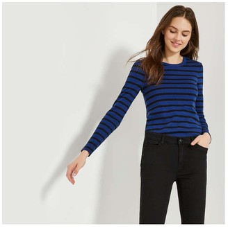 Joe Fresh Women's Essential Stripe Tee, Dark Navy (Size L)