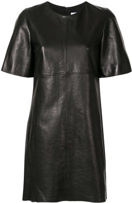 Carolina Herrera Leather Short-Sleeve Dress