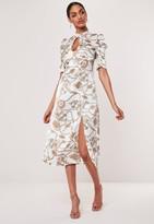 Missguided White Chain Print A-Line Midi Dress