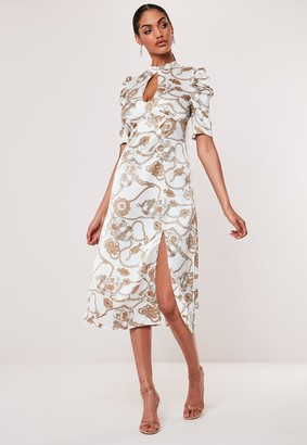 Missguided White Chain Print A-Line Midi Dress