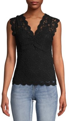 No Boundaries Scallop Trim Cinched V-Neck Sleeveless Lace Top