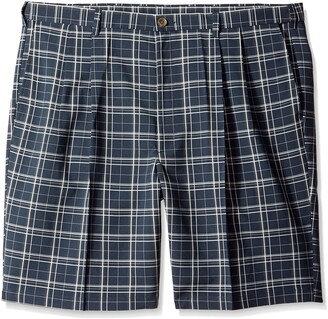 Haggar Men's Big-Tall Cool 18 Expandable Waistband Woven Plaid Pleat Front Short