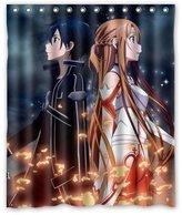 Shower Curtain Company Japanese Anime Sword Art Online Asuna Kirito Custom Polyester Fabric Shower Curtain 60 Inch Bath Curtains