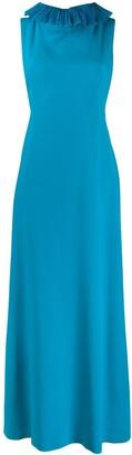 Alberta Ferretti Ruffle Trim Long Gown