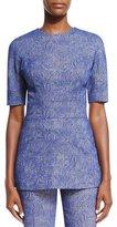 Lela Rose Swirl Jacquard Short-Sleeve Peplum Top, Lapis