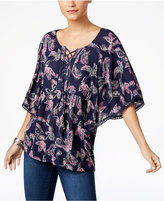 Style&Co. Style & Co Petite Paisley-Print Lace-Up Top, Only at Macy's