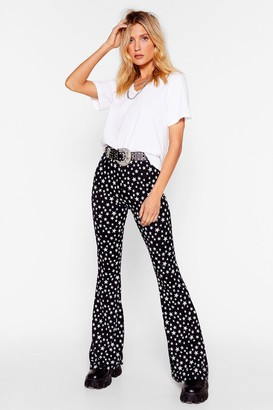 Nasty Gal Womens Star-ting to Bore Us High-Waisted Flare Trousers - Black - 4