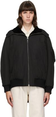 Yves Salomon Army Reversible Black Shearling Bomber Jacket