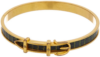Hermes Gold-Plated Crocodile Leather Belt Bangle Bracelet