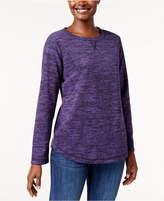 Karen Scott Fleece Crew-Neck Sweatshirt, Created for Macy's