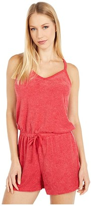 Alternative Poolside Romper in Eco Toweling Terry (Eco True Red) Women's Jumpsuit & Rompers One Piece