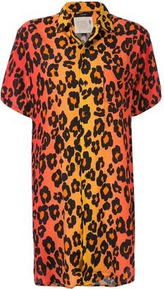 R 13 Leopard Print Shirt Dress
