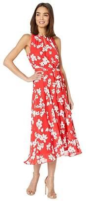 Tahari ASL Printed Chiffon High-Low Dress with Keyhole Halter Neck