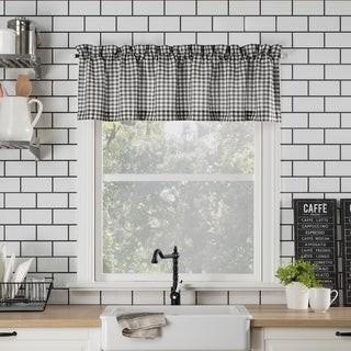 No. 918 Parkham Farmhouse Plaid Semi-Sheer Rod Pocket Kitchen Curtain Valance