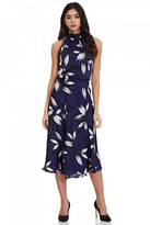 Adrianna Papell Tossed Leaves Halter Dress In Navy/Ivory