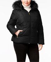 Calvin Klein Plus Size Faux-Fur-Trim Down Puffer Coat
